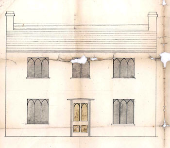 Cople Vicarage elevation about 1816