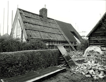 Rear of 10 Willington Road 1980 note the thatch beneath the corrugated iron