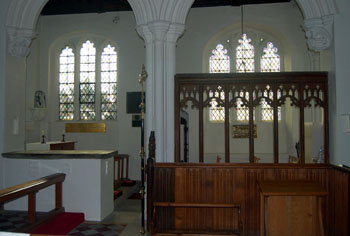 view into north aisle from chancel February 2008
