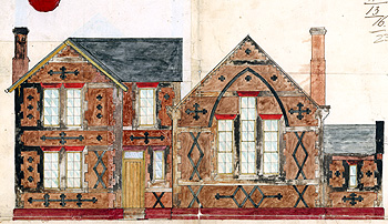 Elevations of the school and masters house about 1860 [AD3865/13/3]