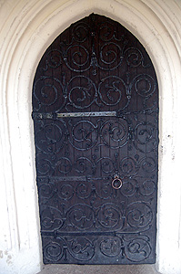 Ornate ironwork on the south door March 2012
