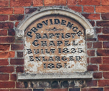 Plaque on Grace Baptist church July 2012
