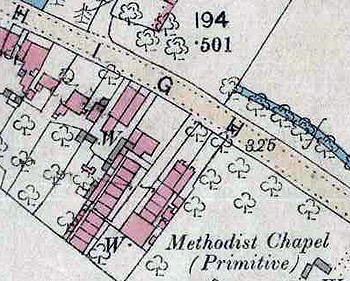 The Primitive Methodist chapel on a map of 1880