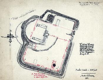 The castle earthworks drawn by Frederick Gurney in 1911 [X325-146-1]