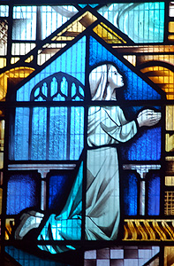 Worshipping girl on the north aisle window July 2012