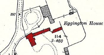 Eggington Lodge shown in red on a map of 1926