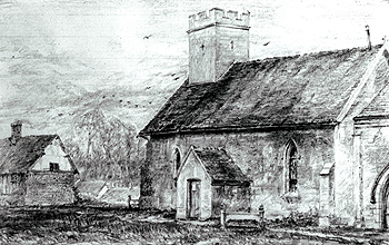 The church and parsonage house by Frederick Gurney before restoration about 1860 [Z50/42/13]