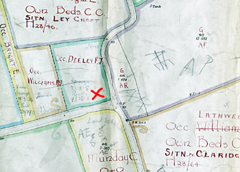 The red cross marks the approximate site of Clipstone chapel