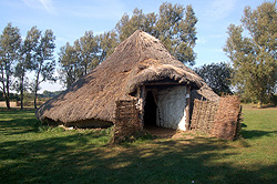 A reconstruction of an Iron Age round house at Flag Fen October 2011