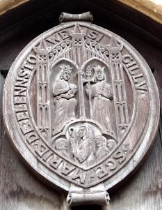 Copy of the Elstow Abbey seal over the west door 2007