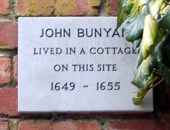 The plaque on the site of Bunyan's Cottage February 2012