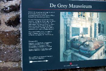 English Heritage sign regarding the de Grey Mausoleum