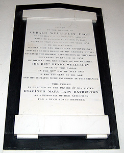 Memorial to Gerald Wellesley on the north wall of the chancel August 2011
