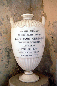 Urn memorial to Lady Mary Gregory August 2011