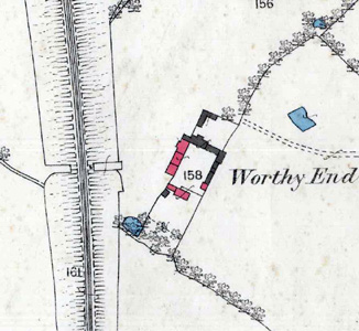 Worthy End Farmhouse on a map of 1882