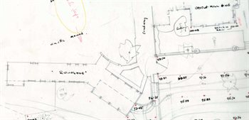 Sketch plan of the castle mound and Castle Mill House  in 1961 [Z1169-8-60-18]