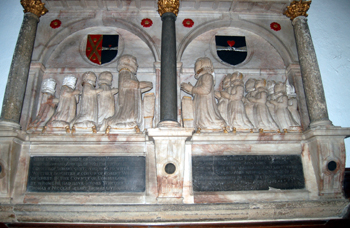 Close-up of the memorial to Thomas Anscell in the chancel May 2010