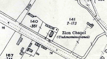 Zion Chapel shown on the Ordnance Survey map for 1926