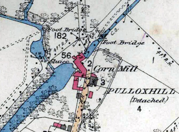Greenfield Mill on a map of 1881