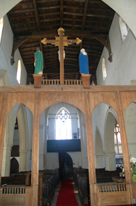 Harrold church - interior looking west May 2008