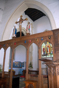 Harrold church chancel and north aisle seen from near pulpit May 2008
