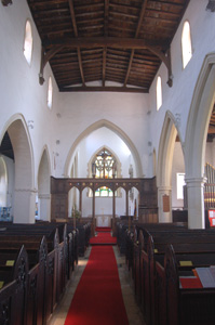 Harrold church interior looking east May 2008