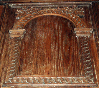 Harrold church panel on rood screen May 2008