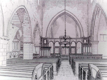 Interior of Harrold church looking east about 1845