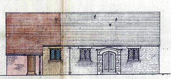 South elevation of 1933 showing the proposed extension to the left [RDBP2-329]