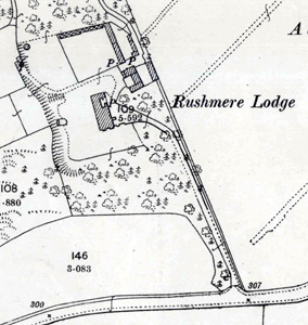 Rushmere Lodge on the 1901 Ordnance Survey Map