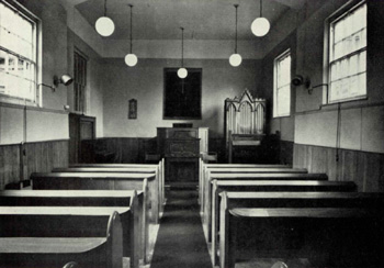The interior of Heath Baptist Church in 1963
