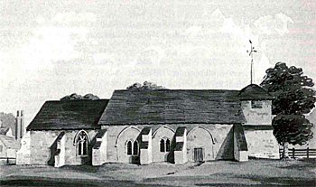 Higham Gobion church by Thomas Fisher about 1815