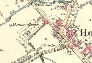 1st edition Ordnance Survey map showing the Manor House