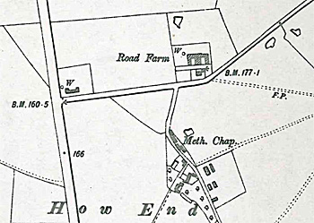 How End chapel on a map of 1901