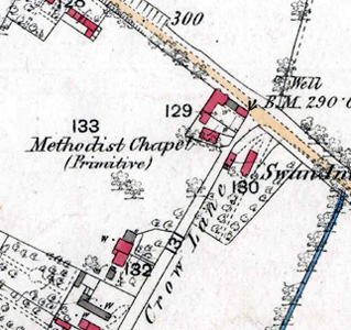 The Primitive Methodist chapel shown on a map of 1883