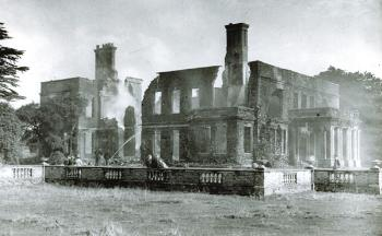 Ickwell Bury after the fire of 1937 [Z50/84/49]