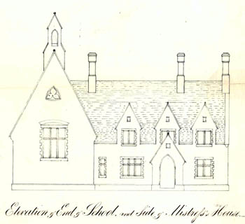 Drawing of exterior of Up End school