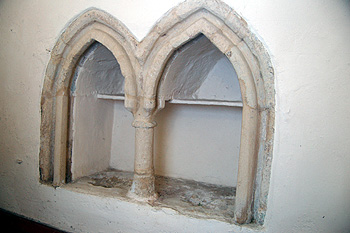 Double piscina in the south wall of the chancel March 2012