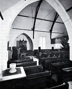 The interior of Kempston West Methodist Church in 1960