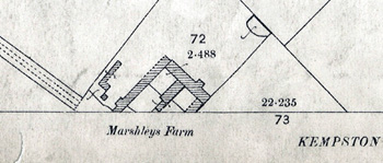 Part of Marsh Leys Farm on a map of 1883