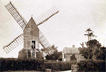 Keysoe windmill and millers house about 1930
