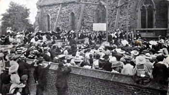 Laying the foundation stone for the enlargement of 1905