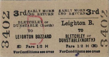 Leighton Buzzard to Dunstable railway ticket Z298-56