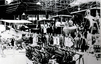Morgans aeroplane works making Vickers Vimys in 1917 or 1918