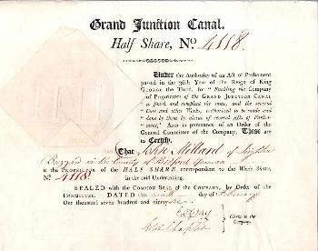 Half share of John Millard in Grand Junction Canal 1796