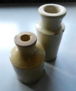 Doulton inkwells found in the grounds of the Old School House in the 1970s