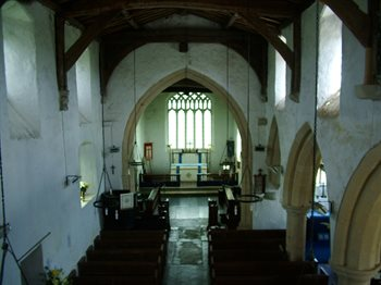 The interior looking east - copyright All Saints Little Staughton