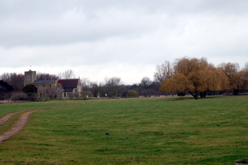 Little Barford church and the site of the deserted Medieval village February 2010