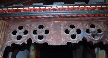 Ornamental woodwork over the door into the vestry February 2010