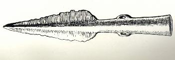 A Bronze Age spearhead found in Sundon and illustrated in William Austin's History of Luton